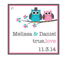 Personalized Square Custom Favor Hang Tags - Wedding/Shower/Birthday  - Birds