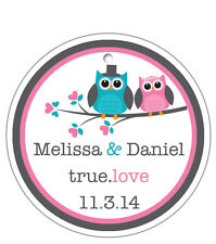 20 Personalized Round Custom Favor Hang Tags - Wedding/Shower/Birthday  - Birds