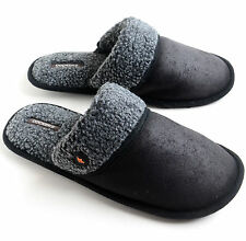 Dockers Men's Microsuede Aviator Style Scuff Slippers Black Size M L XL NEW