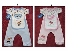 NWT Infant Baby Boys/Girls Bambini Onesie Pants 3 Pc outfit set w/bibs sz:0-3,3-