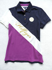 NWT Womens Tommy Hilfiger Navy, Purple, Short Sleeve, Sash Pieced Polo