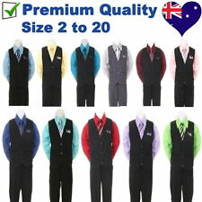 4PC Black Pinstripe Boys Vest Set, Wedding Party Boys Formal Suit, Boys Outfit
