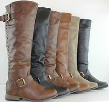 NEW Women's Fashion Knee High Studded Riding Flat Heel Boots Shoes Faux Leather