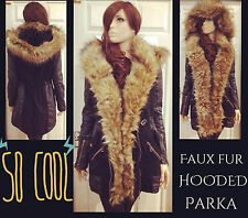 Womens River Island style in Khaki/ Black faux fur front parka jacket with hood