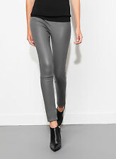 NWT UTERQUE (ZARA COMPANY) - GREY LEATHER LEGGINS - AW  2014
