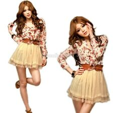 Womens Korean Fashion Chiffon Floral Tunic Tulle Belted Summer Party Mini Dress