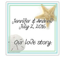 Beach - Square Custom Favor Stickers/Labels - Wedding/Shower  - Personalized