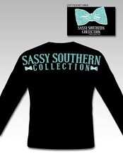 Long sleeve Sassy Southern collection Preppy bow Logo tshirt gift Black gift