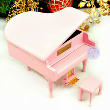 Wooden Piano Music box from Sankyo Musical Movement with 20 Melodies(Pink Color)