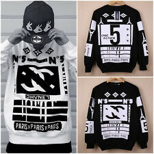 Hot Mens Hip-Hop Warm Thicken Hip-Hop Round Colloar Long Sleeve T-Shirts Sweater