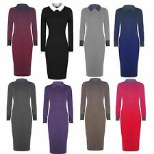 New Womens Peter Pan Collar Long Bodycon Midi Dress 8-22