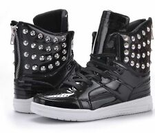 Mens Sneakers Punk Studded Rivet Casual ankle boot High-Top lace Athletic Shoes