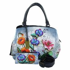 Anuschka Hand Painted Genuine Leather Triple Compartment Large Satchel 528