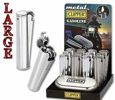 NEW GENUINE METAL PETROL CLIPPER LIGHTER WITH GIFT CASE TIN CHROME FLIP LID