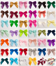Self Adhesive Bows Satin Ribbon x 12 bows - 5cm wide - Many Colours