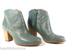 Fossil Valerie Smokey Blue Laser Cut Perforated Leather Ankle Bootie size 9.5