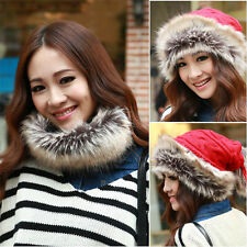 Autumn Winter Warm Woolen Knitted FurDual Purpose Neck Warmer Scarf Beanie Hat