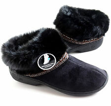 Isotoner Women's Microsuede Faux Fur Cuff Boot Slippers Black Size S M L XL $32