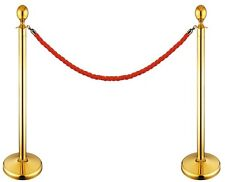 GOLD QUEUE BARRIER POSTS WITH 1.5M TWISTED RED BLUE ROPE STAINLESS STEEL BAR-G