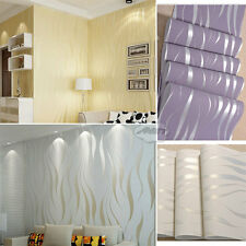 10M Home Bedroom Improvement Non-woven Luxury 3D Wave Flocking Wallpaper Rolls