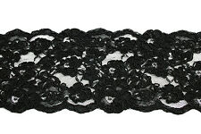 "Lily 4-1/8"" Black Raschel Lace Trim Handsewn Floral Pattern Cording Scalloped"