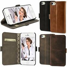 iPhone 5S 5 LEDER Book Case Handy Tasche Hülle Etui Case Bouletta WalletCase NE