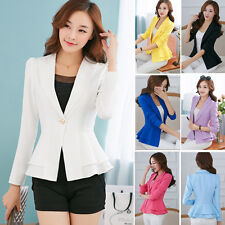 Fashion Womens Long Sleeve Falbala Solid Slim Casual Suit Jacket Blazer Coat