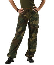 Womens Woodland Army Military Camo Vintage Paratrooper Fatigues Cargo Pants NEW