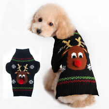 Christmas Reindeer Snowflake Puppy Pet Cat Dog Sweater Knit Crochet Ugly Sweater