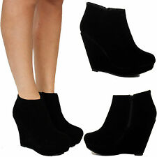 WOMENS LADIES BLACK SUEDE MID HIGH HEEL ANKLE PLATFORM WEDGE BOOTS SHOES SIZE