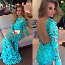 Women Long Evening Ball Prom Gown Formal Bridesmaid Cocktail Party Lace Dress