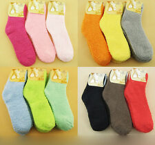 2Pairs/Lot Women Candy Color Indoor Thermal Warm Fuzzy Boot Socks Slipper Socks