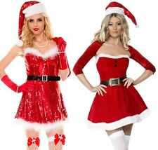 Ladies Womens Red Christmas Outfit Mrs Claus Santa Fancy Dress Christmas Party