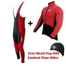 ZIMCO Cycling Super Roubaix Thermal Bib Tight Padded & Wind Jacket Combo Red