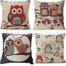 Tapestry Vintage Cotton Linen Owl Cushion Cover Throw Pillow Cases Home Decor