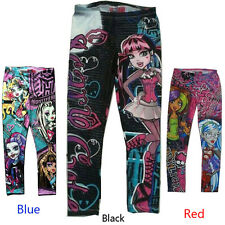 Kids Children Clothes Monster High Cartoon Girls Leggings Pencil Pants for 5-16Y