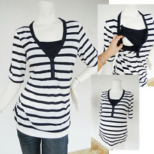 HENLEY Maternity Clothes Nursing Clothing Breastfeeding Top NAVY Shirts NEW Tops