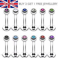 Labret Lip Bar Monroe Tragus Stud Helix Lip Stud Ring Gem 3mm Balls - UK SELLER