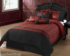 OYUKI - QUEEN Size Bed 7pc Comforter Set Burgundy Black Asian, Chinese Letters
