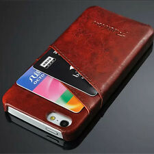 Leather Hard Fitted Case/Skin For Apple iPhone 5 & 5s With Card Slots