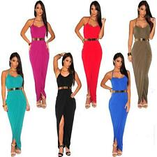 AU Sexy Halter Split Bodycon Slim Wrap Maxi Formal Party Gown Evening Long Dress
