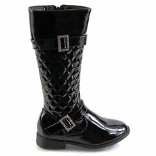 Kids Girls Glamorous Faux Leather Fashion Buckle Zip Up Quilted Winter Boots