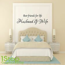 BEST FRIENDS FOR LIFE HUSBAND & WIFE WALL STICKER QUOTE  -   WALL ART DECAL X78