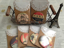 Cavallini Vintage Poster, Paris Map Hand Bag Pocket Mirror - 10p extra P&P (UK)