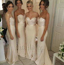 Nude Beaded Ball gowns Party Evening Prom Bridesmaid Dresses Size 6 8 10 12 14