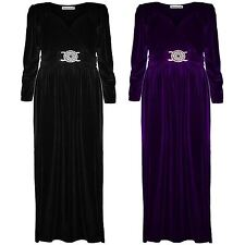 New Womens Plus Size Buckle Belted Long Sleeve Velvet Maxi Dress 16-22
