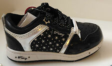 KIDS STAR LIGHT UP SHOES PASTRY FLASHING GIRLS GLITTER TRAINERS BLACK PARTY NEW