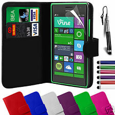 Pelle PU WALLET FLIP CUSTODIA COVER & Screen Film & Stylus per Nokia Lumia modelli