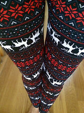 SNOWFLAKE Deer winter FUR FLEECE knitted leggings S M L Juniors Plus XL 1X 2X 3X