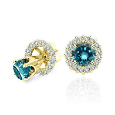1 Carat Blue Diamond Solitaire Stud Pair Earrings Halo Jackets 14K Yellow Gold